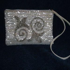Liz Claiborne White Beaded Wristlet Or Clutch